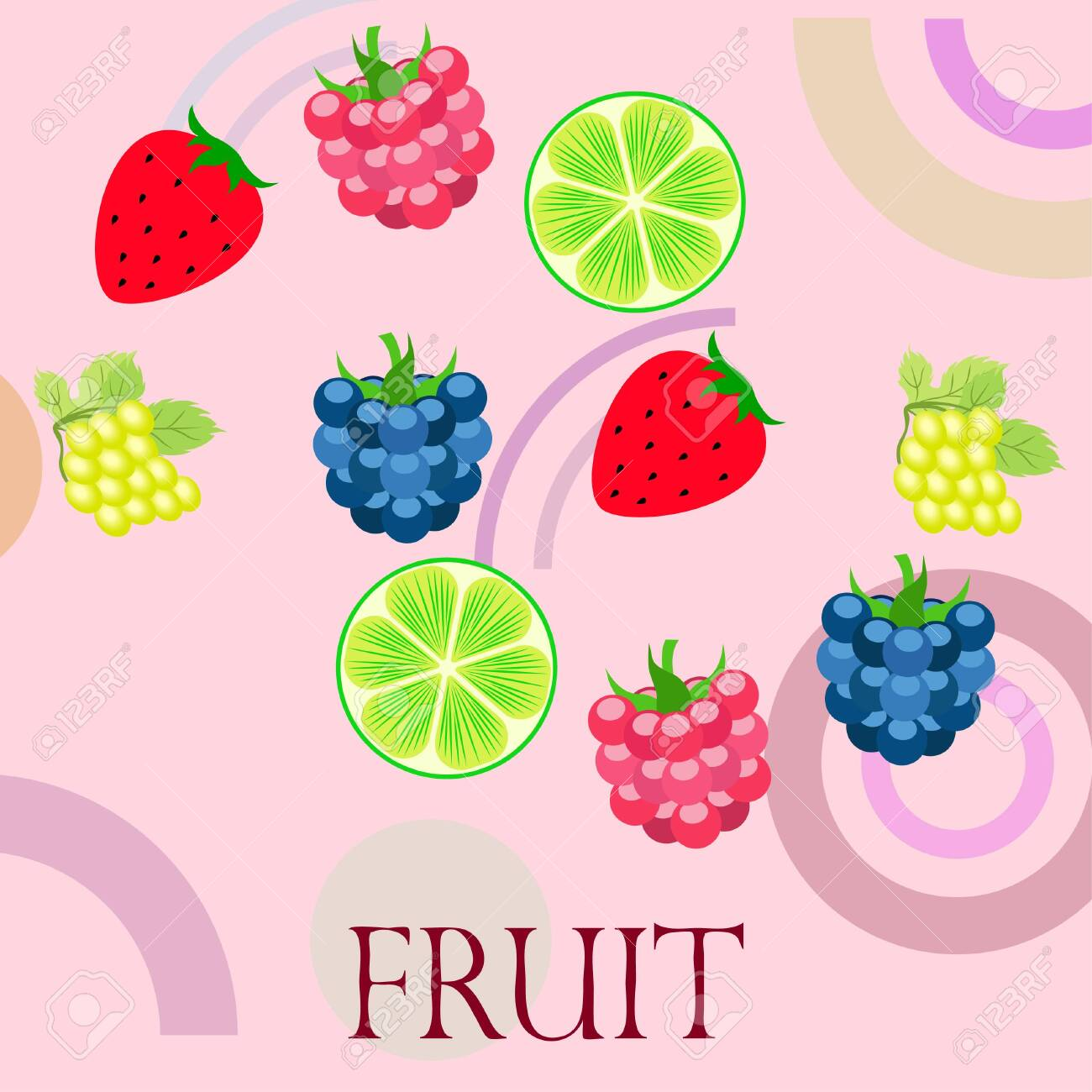 Fruits and berries. Colorful cartoon fruit icons: blackberry, raspberry, grape, strawberr, lime. Vector background. - 128418068