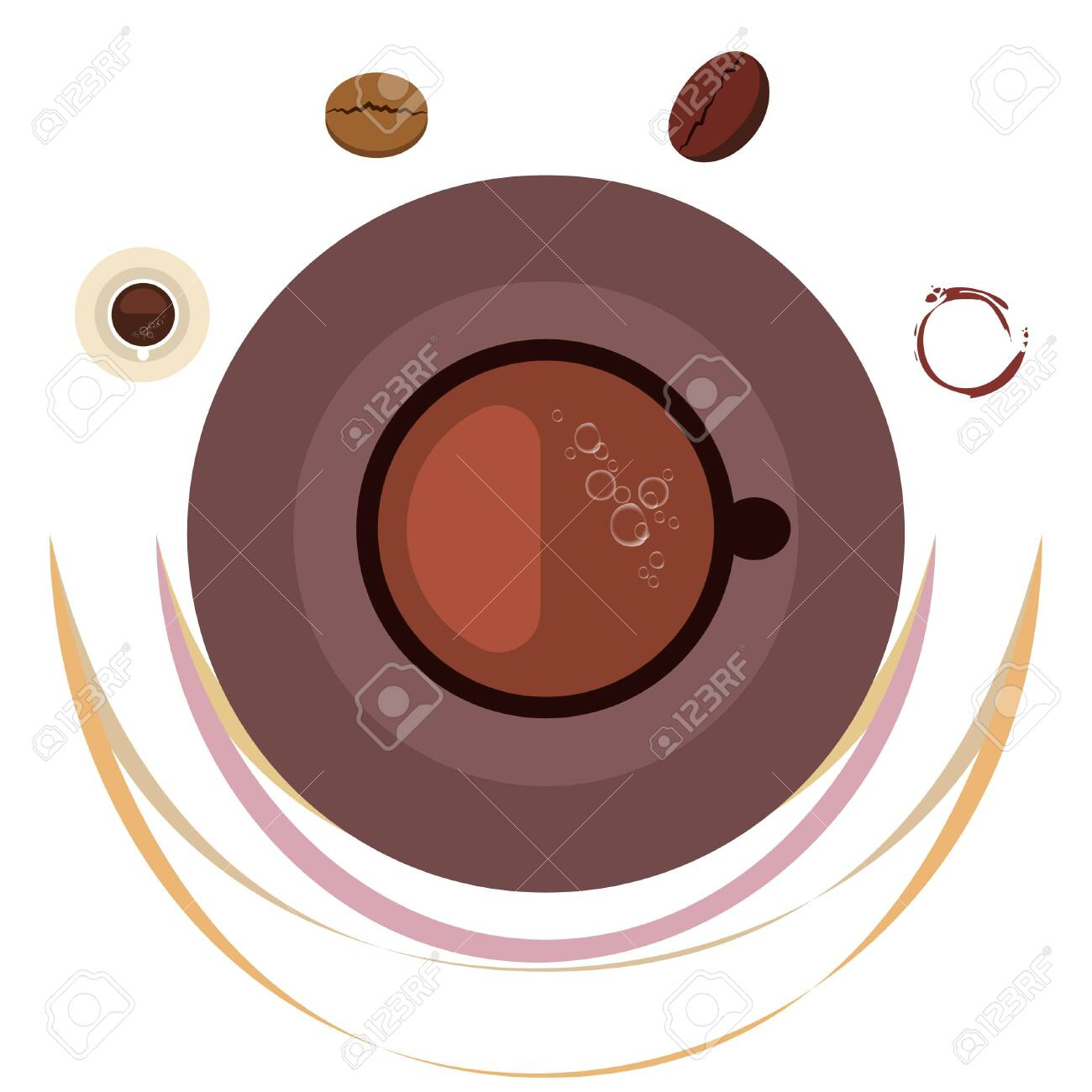 Coffee cup, coffee grains, breakfast concept. Drinks menu for restaurant, vector background. - 128897751
