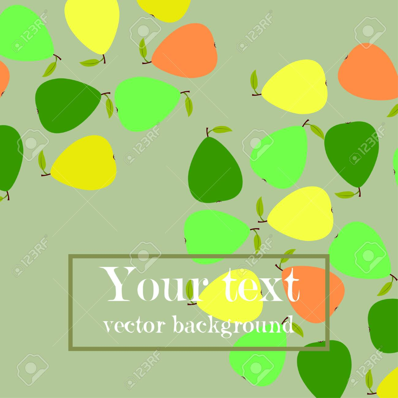 Vector illustration of a pear. Fresh cartoon organic fruit. - 129505821