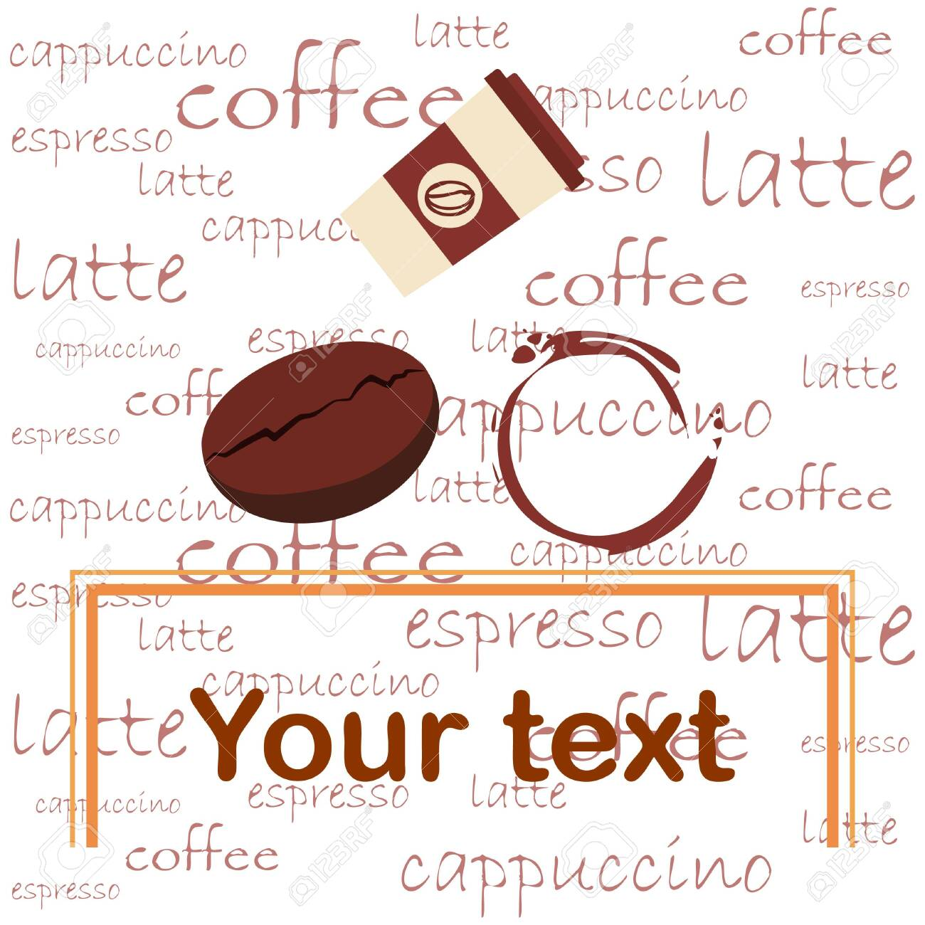 Coffee cup, coffee grains, spilled coffee. Breakfast concept. Drinks menu for restaurant, vector background. - 134863510
