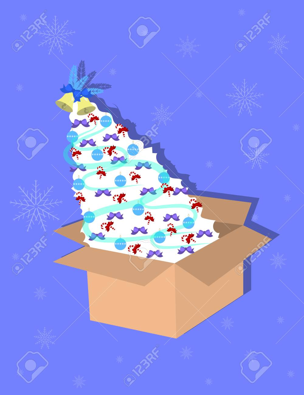 Christmas Tree In The Cardboard Box Vector Illustration Royalty Free