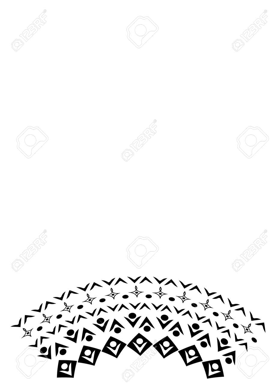 Black and white minimalism, graphics. Illustration - frame of lace. Design elements for book cover, notepad, phone screensaver. postcard. - 170610124