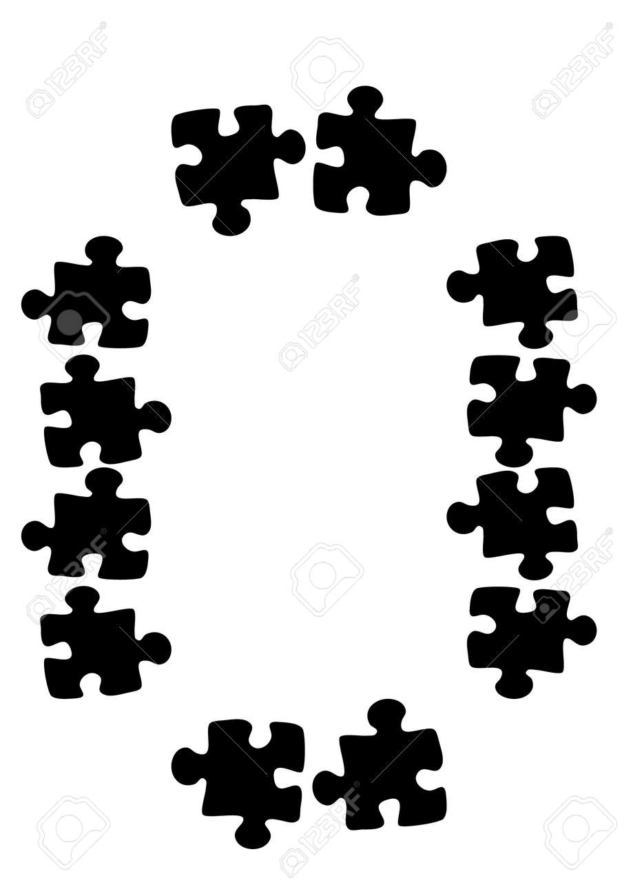 Stylized frames on the theme - puzzles. Illustration on a white vertical background format A4. Cover for a notebook or book, postcard, interior design - door, mirror, furniture facade. - 170610141