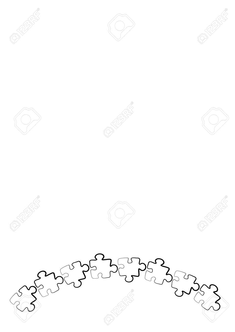 Stylized frames on the theme - puzzles. Illustration on a white vertical background format A4. Cover for a notebook or book, postcard, interior design - door, mirror, furniture facade. - 170610142
