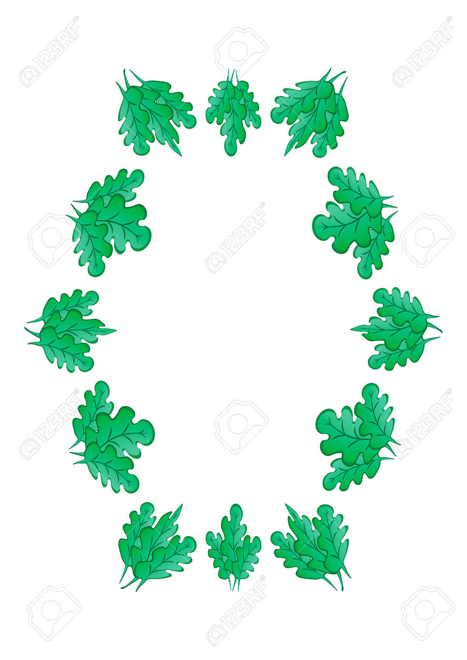 Frames of green oak leaves on a white sheet of A4 format, pastiche, graphics on the theme of the plant. Designing notebook covers, mobile apps, websites, design elements - 170357316