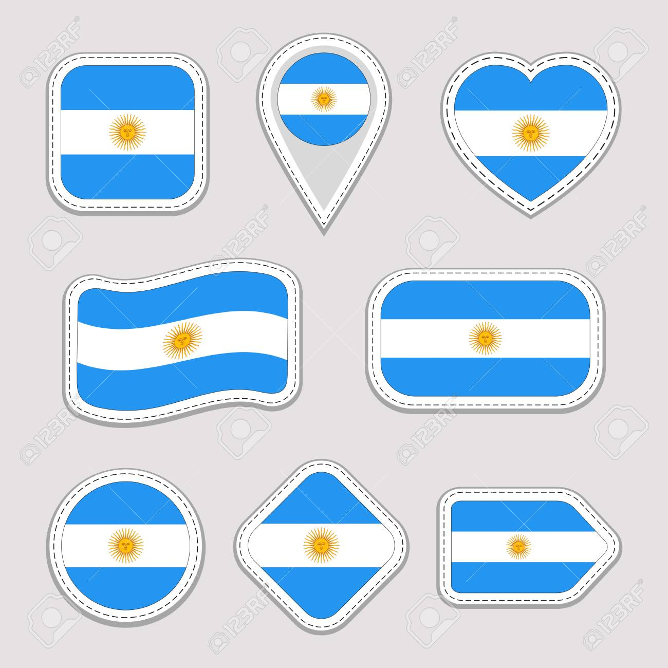 Argentina flag vector set argentinian national symbols badges flags stickers collection isolated geometric