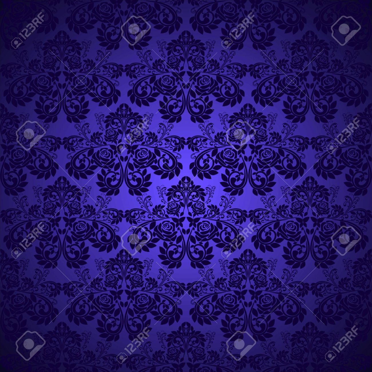 Dark blue wallpaper - pattern with roses Stock Vector - 12964238