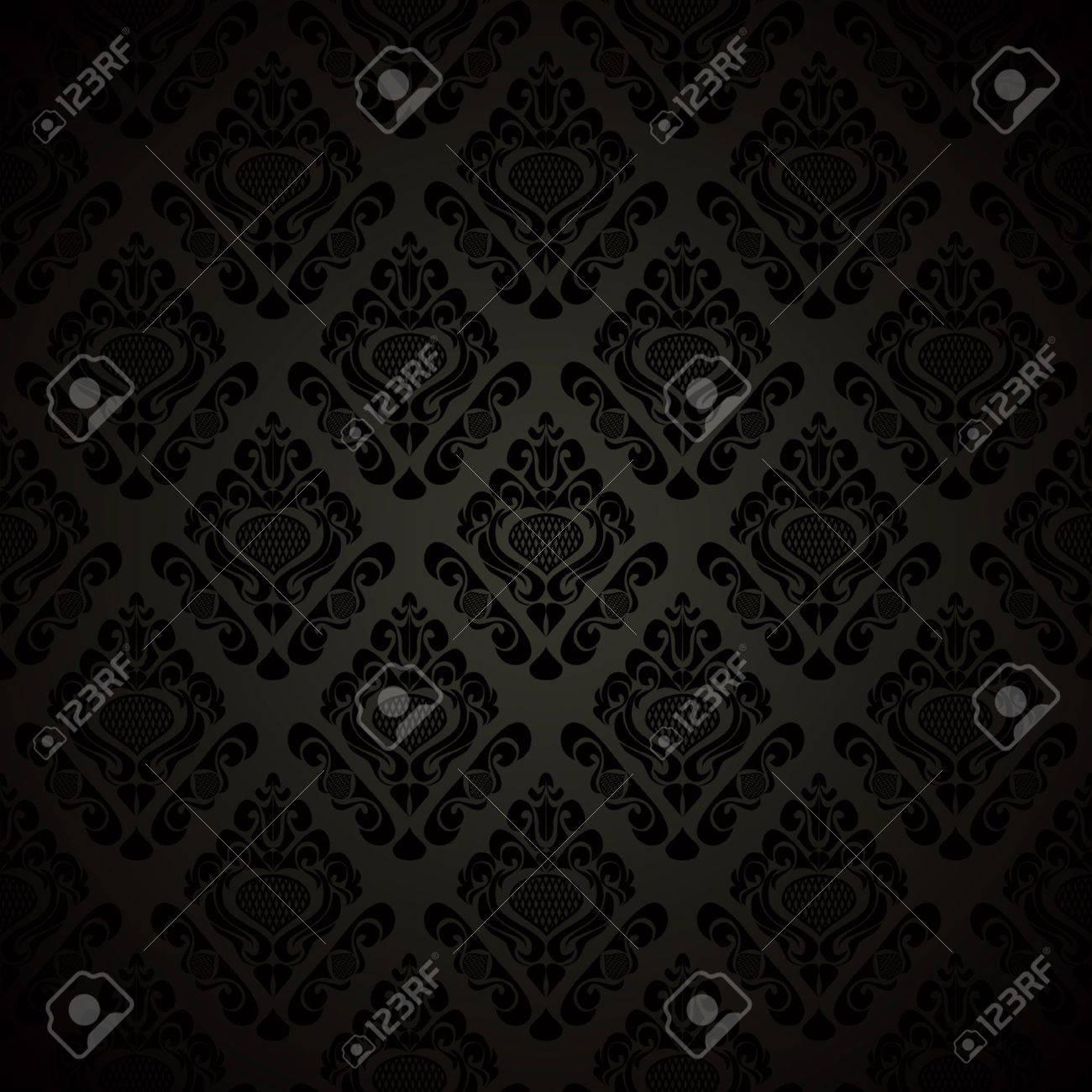 Seamless black wallpaper - style retro. Vector illustration(EPS10). - 13298189