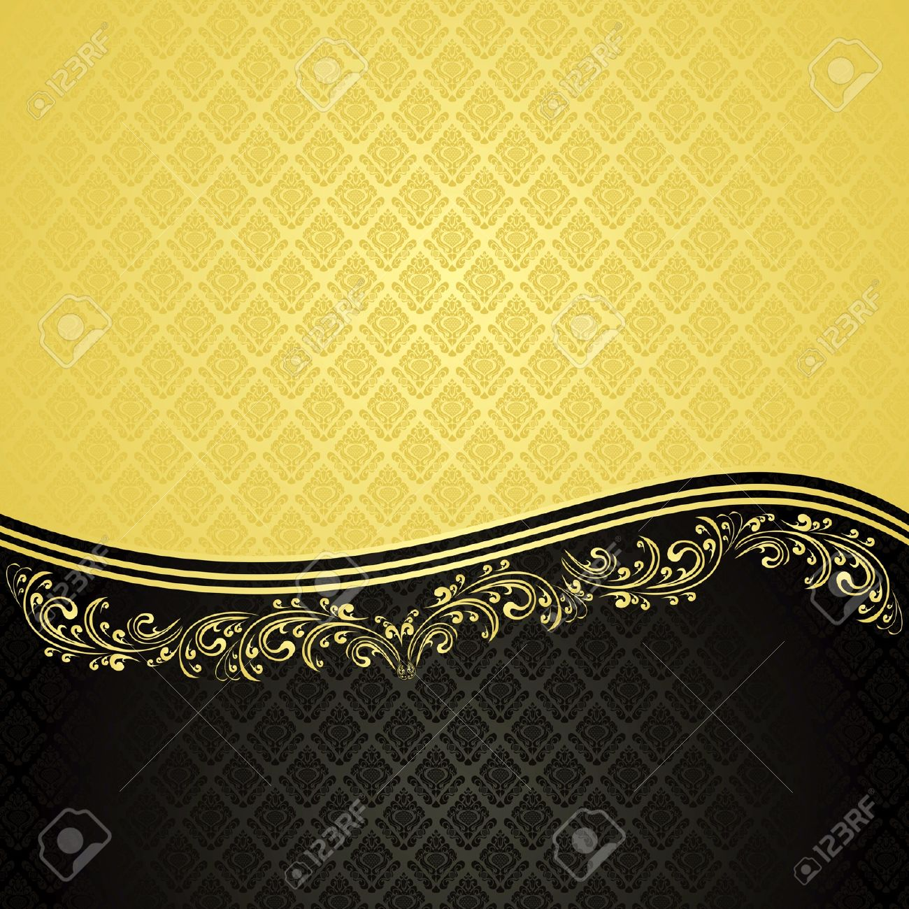 Luxury Background decorated a Vintage ornament : gold and black (EPS10) - 13387501