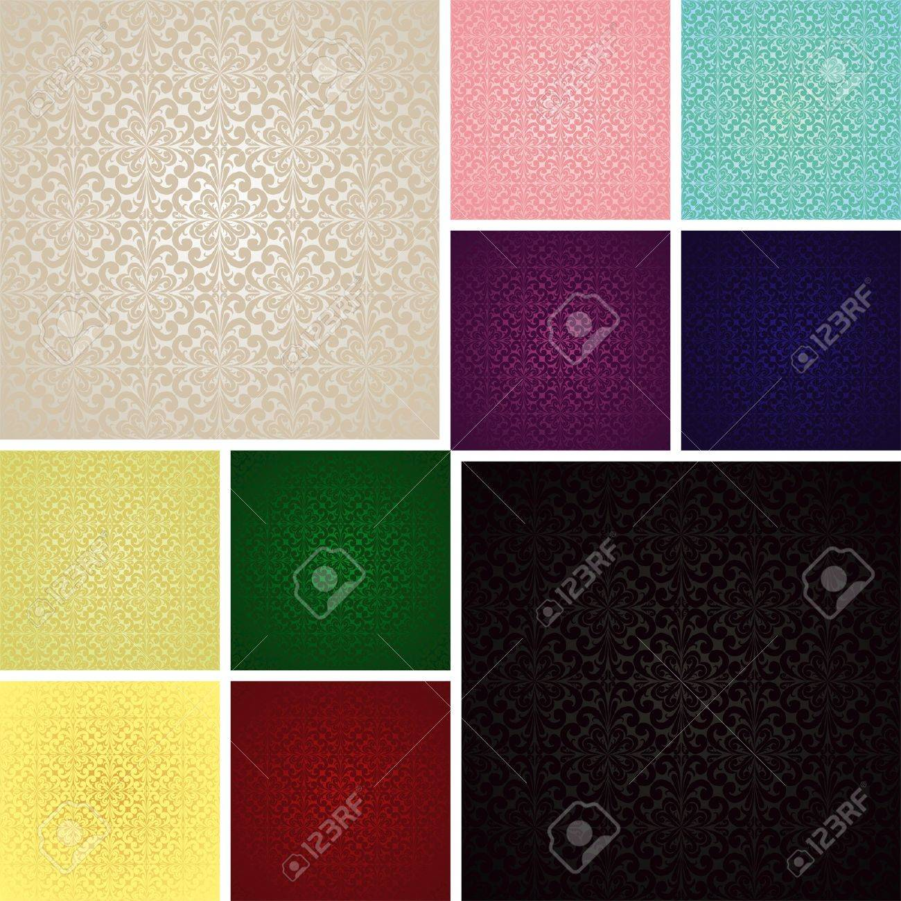 Seamless wallpapers - set of ten colors (EPS 10) - 15238980