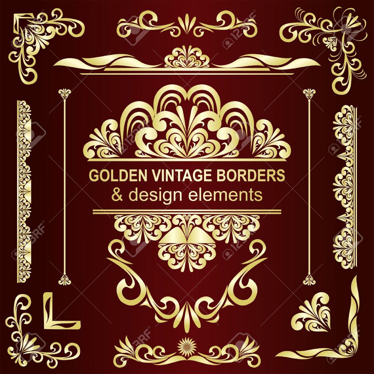 Golden vintage borders   design elements - set Stock Vector - 15780661