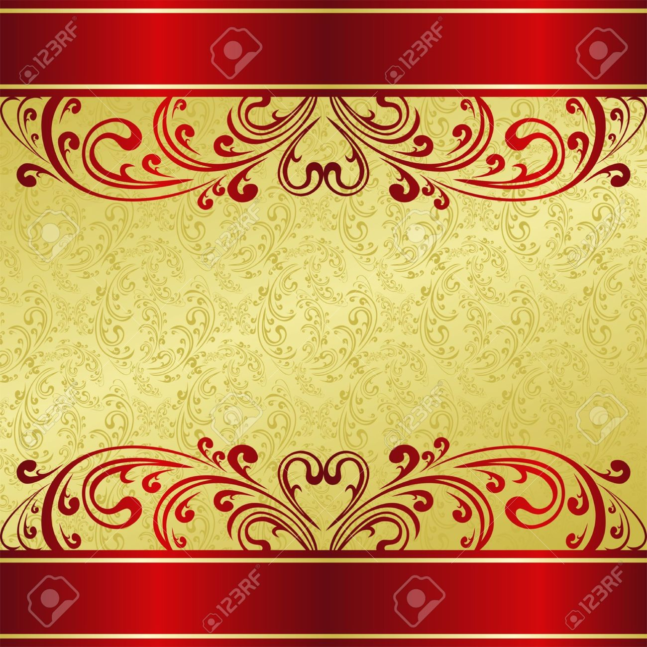 Luxury Background decorated a Vintage ornament: gold and red - 15781028