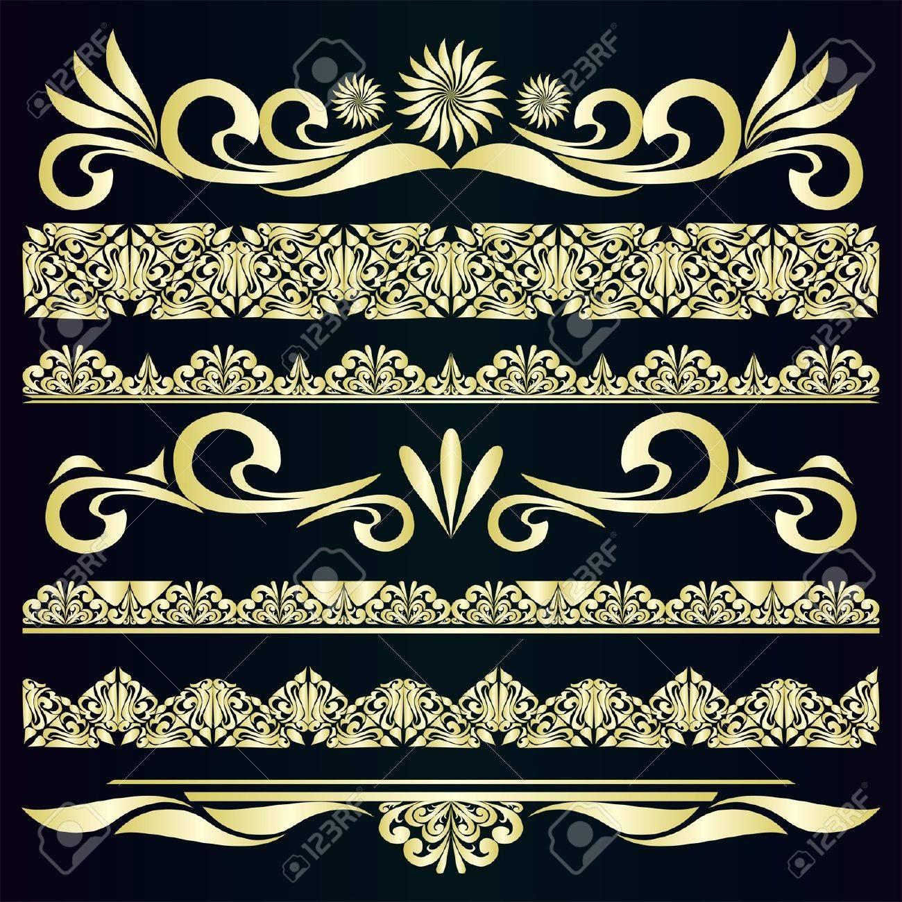 Golden vintage borders design elements - 16133523