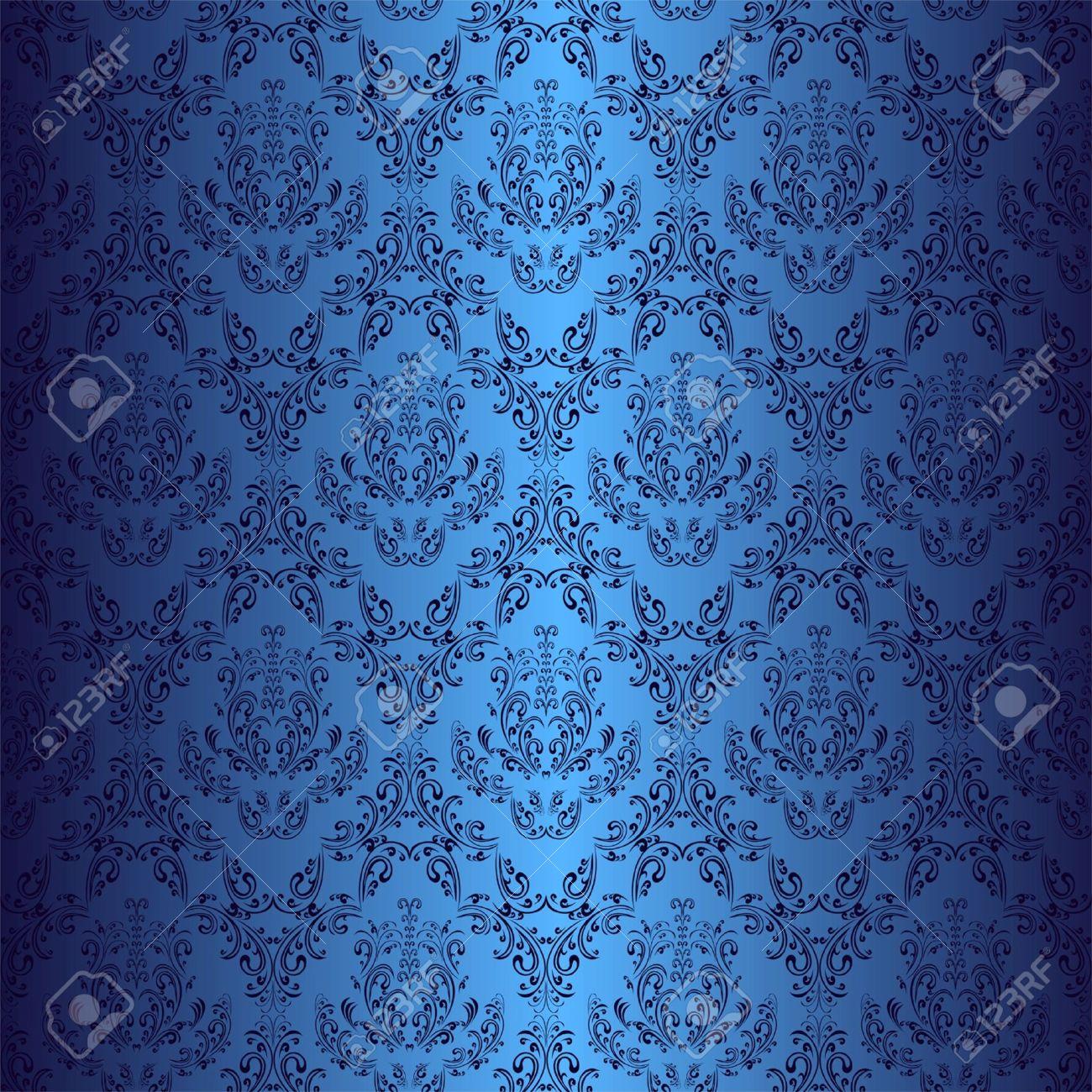 Seamless dark blue wallpaper in style retro - 16133525