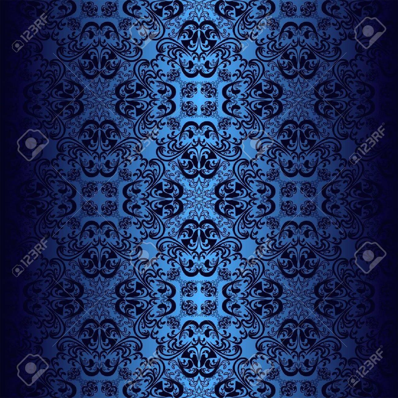 Seamless dark blue wallpaper. - 16662168