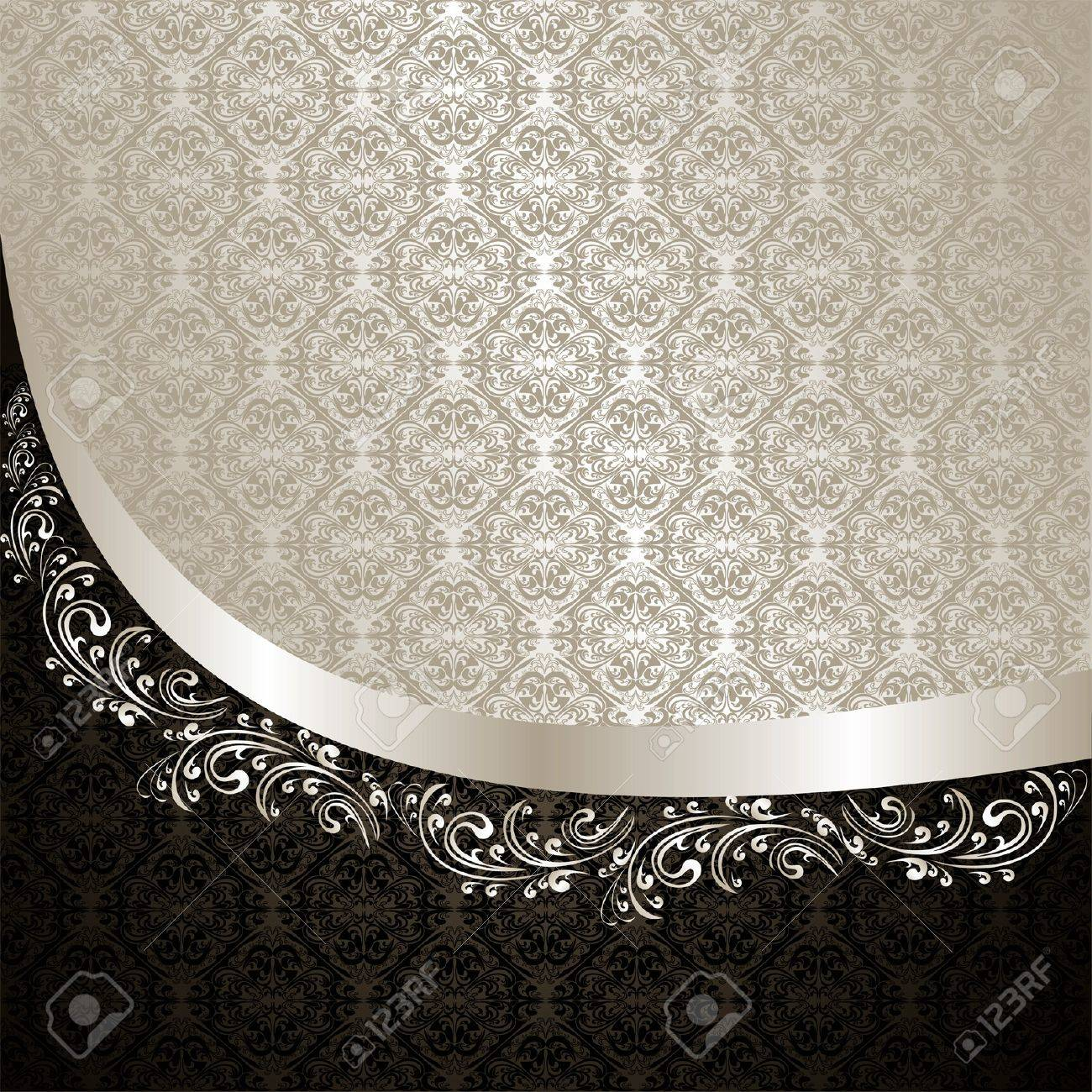 Luxury Background decorated a Vintage ornament silver and black - 16844679