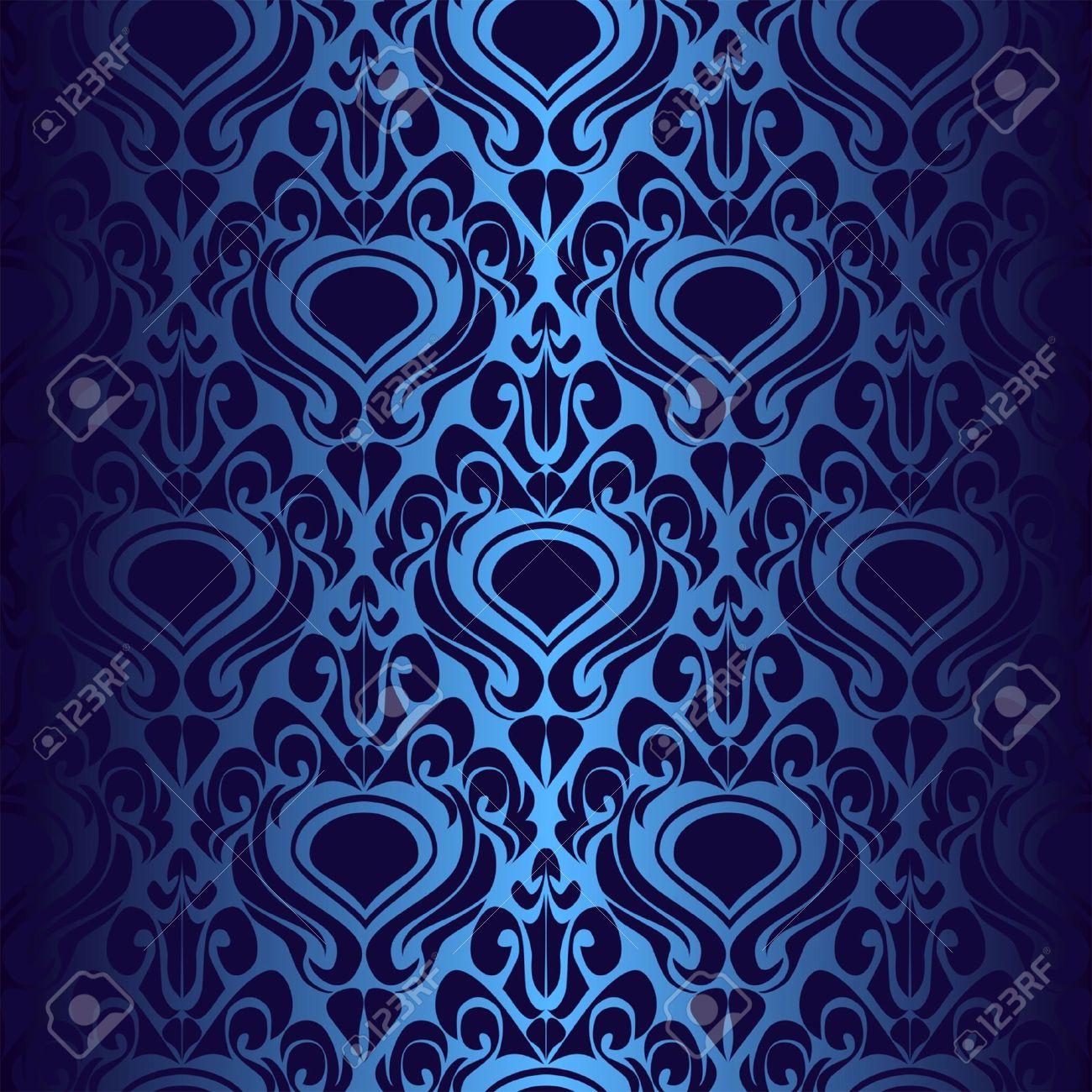 Seamless Dark Blue Wallpaper Stock Vector
