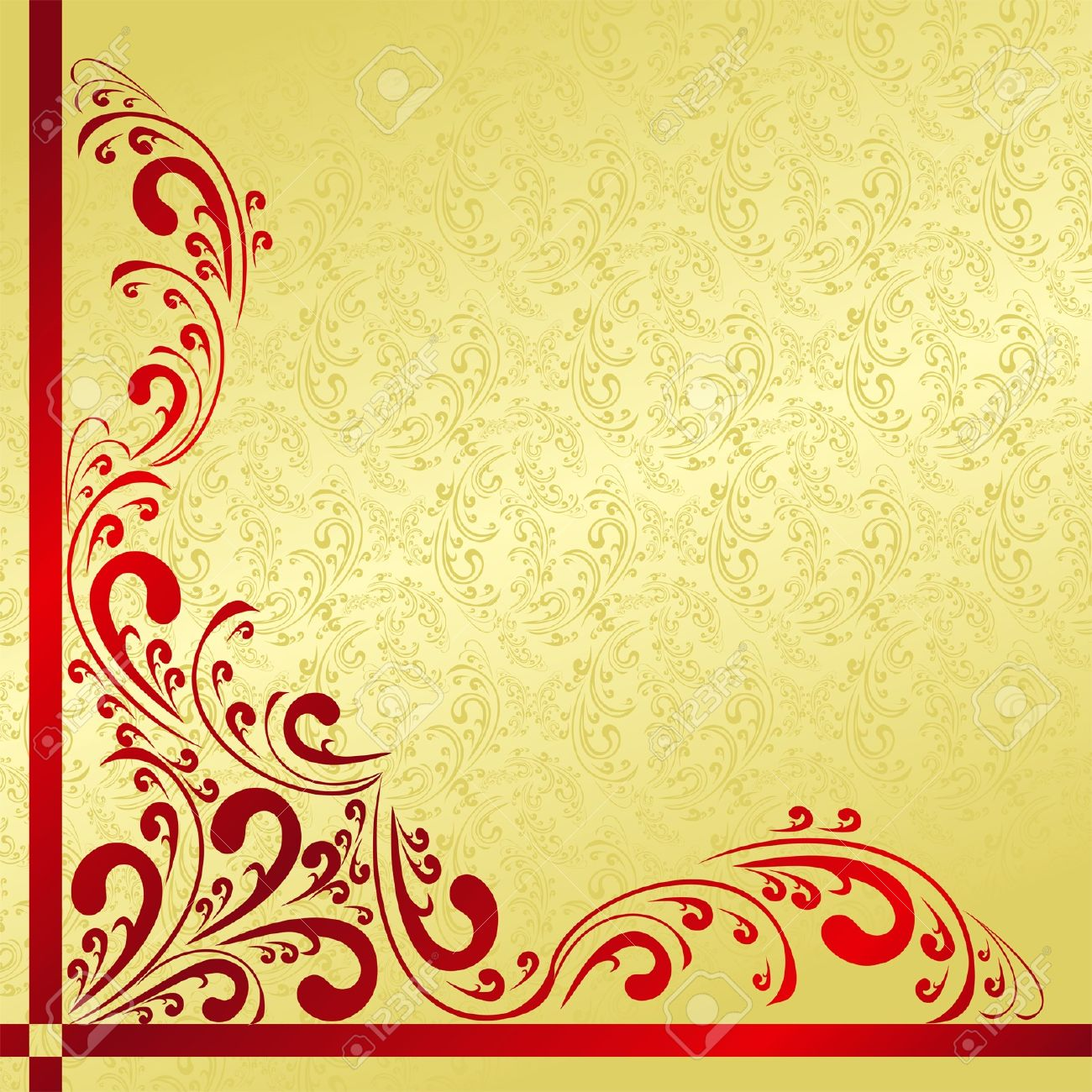 Luxury Background Decorated A Vintage Border Gold And Red
