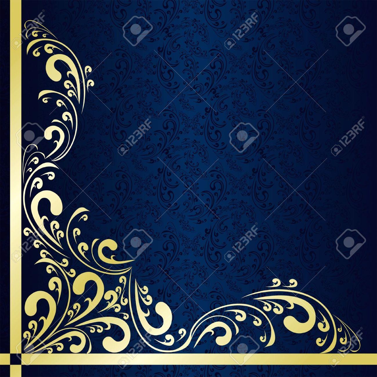 Luxury dark blue Background decorated a gold border - 17323841