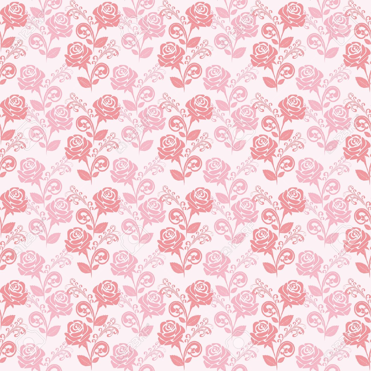 Seamless Gently Pink Wallpaper With Roses Stock Vector