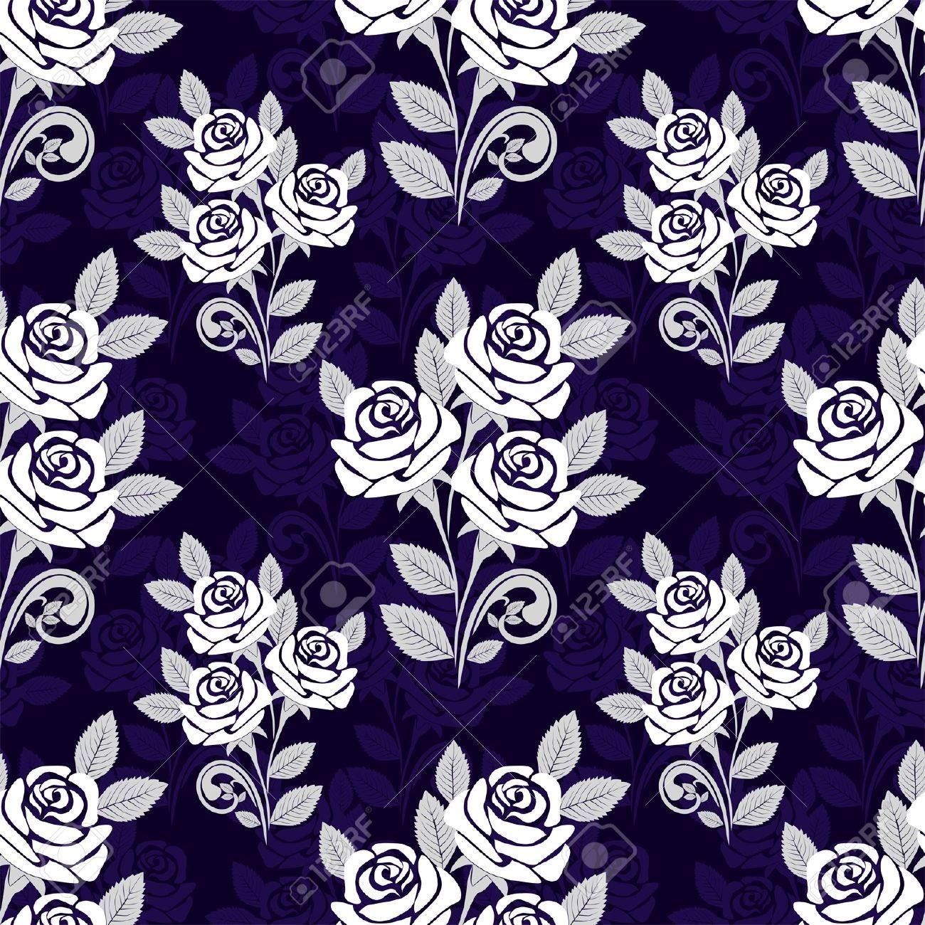 Seamless pattern with white roses on a dark blue background - 18848513