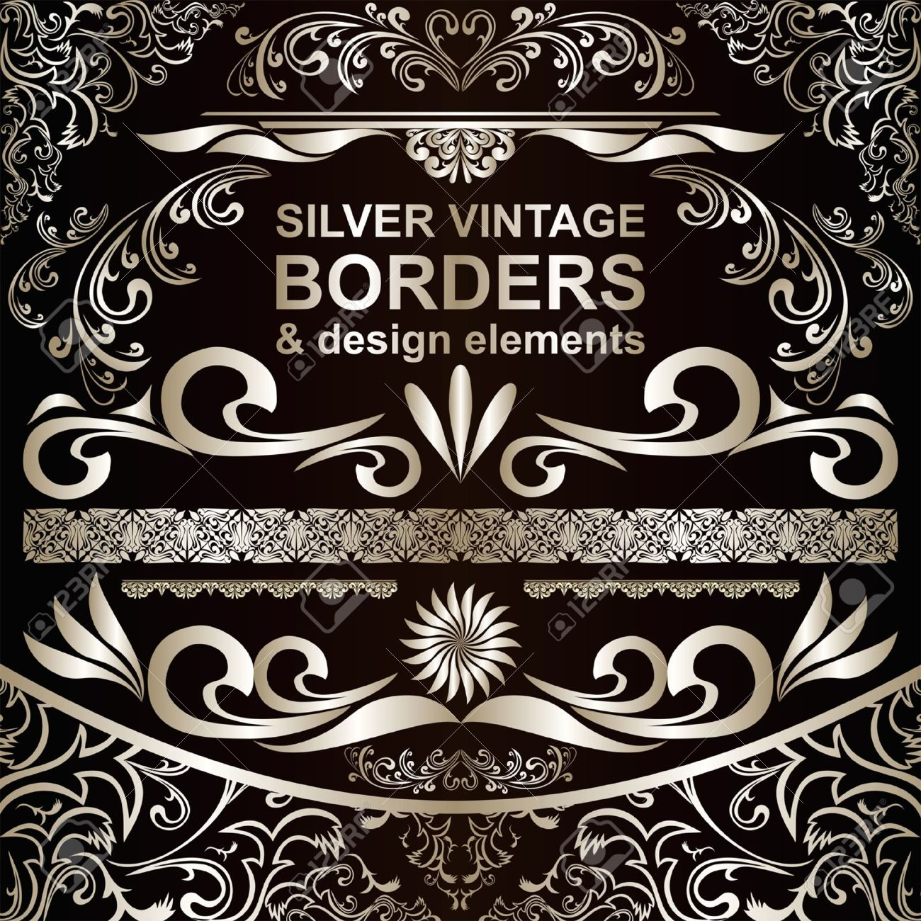 silver vintage borders and design elements royalty free cliparts