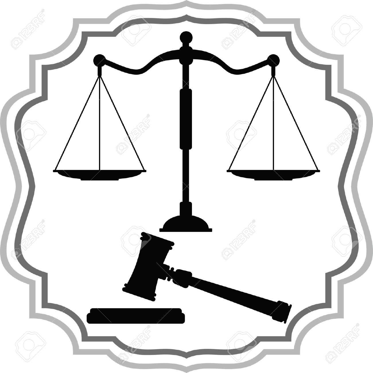 Symbols Of Justice Scales And Hammer Royalty Free Cliparts