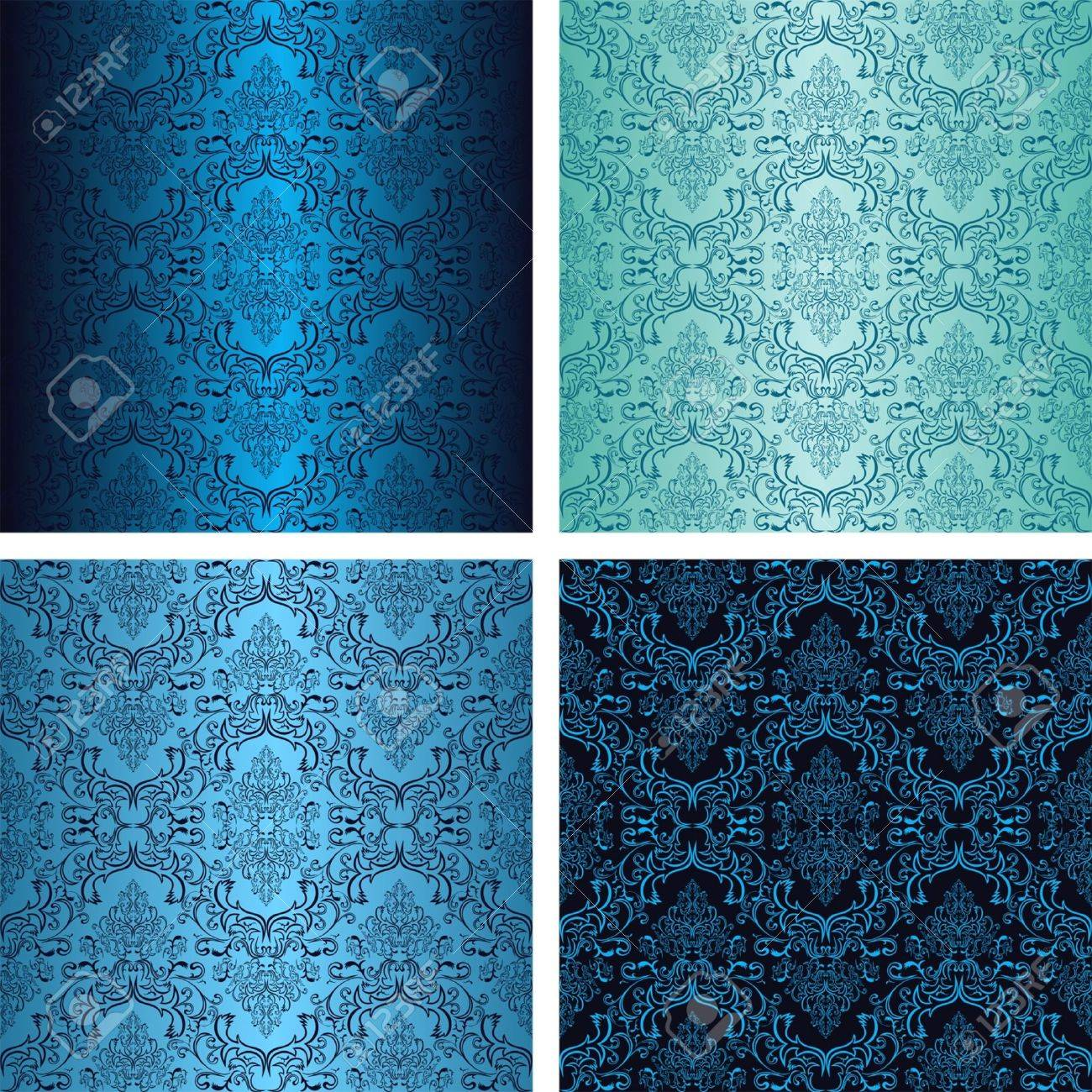 Damask seamless wallpaper in four variants - shades of blue - 19602846