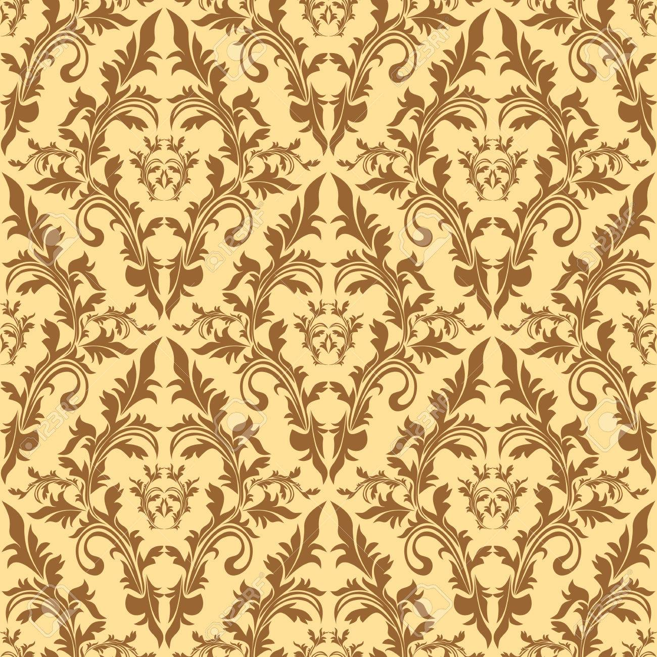 Seamless damask floral pattern in beige colors - 22956262