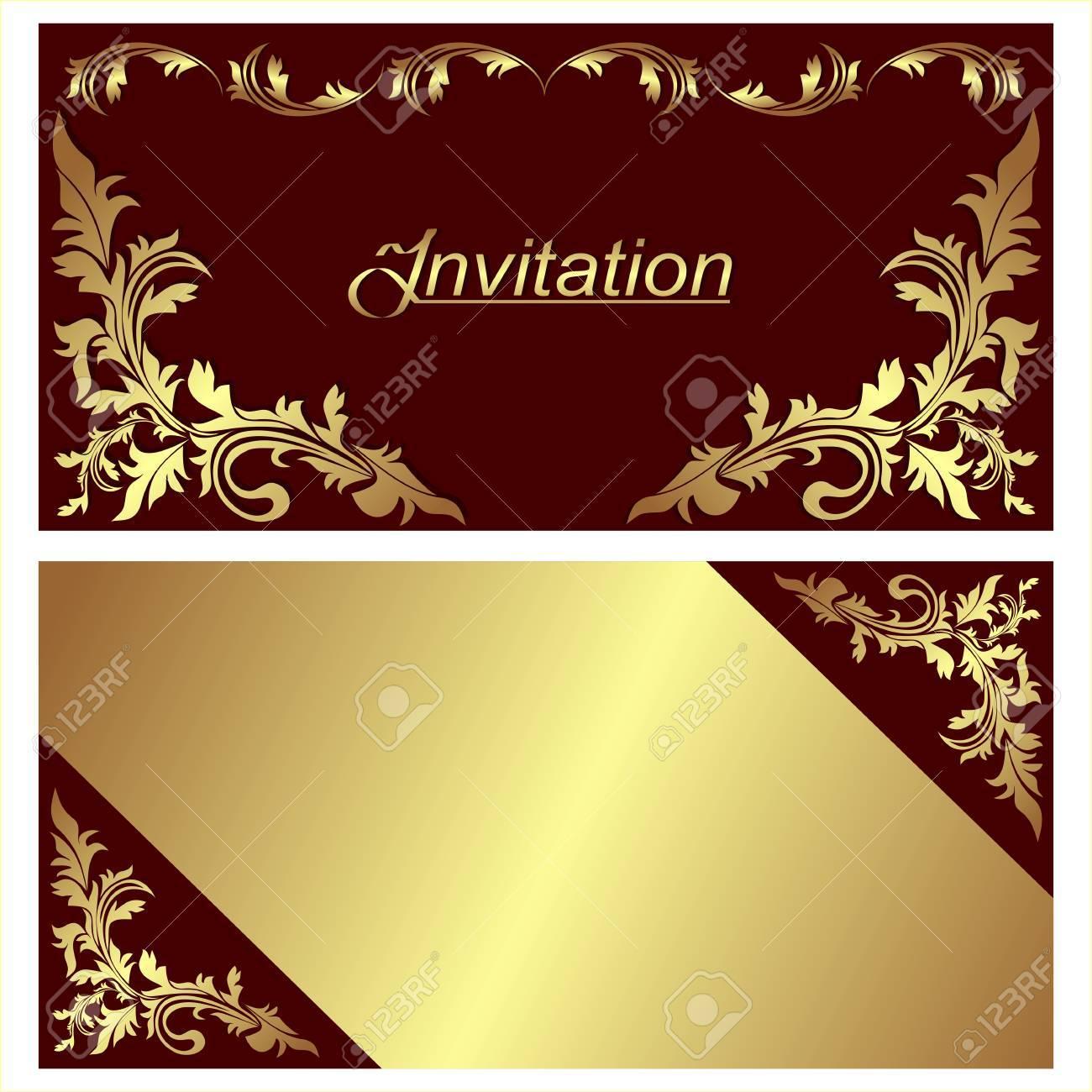Invitation Card Design With Golden Borders