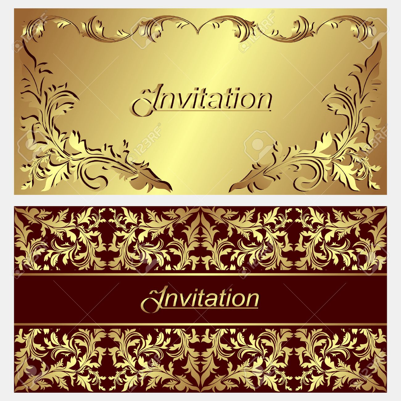 Luxurious invitation Cards with golden ornamental Borders - 22956506