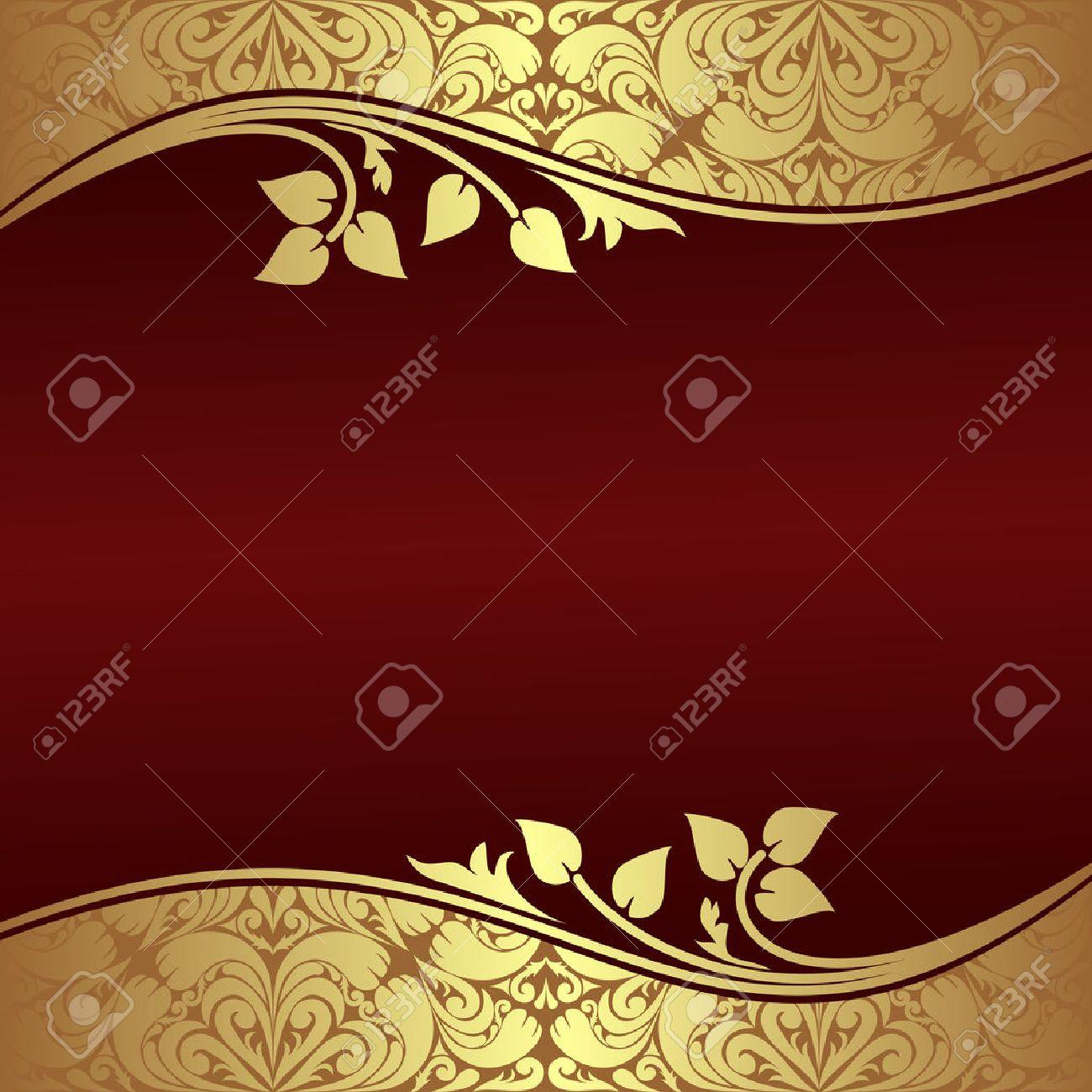 Elegant Background with floral golden Borders - 23660404