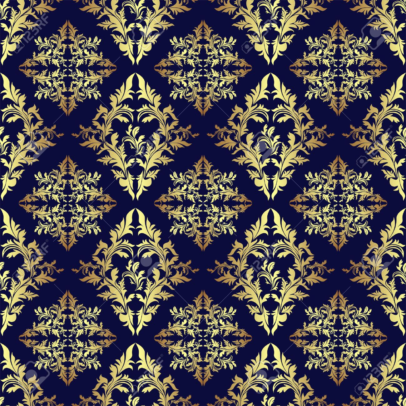 luxury seamless ornamental wallpaper gold on dark blue royalty free