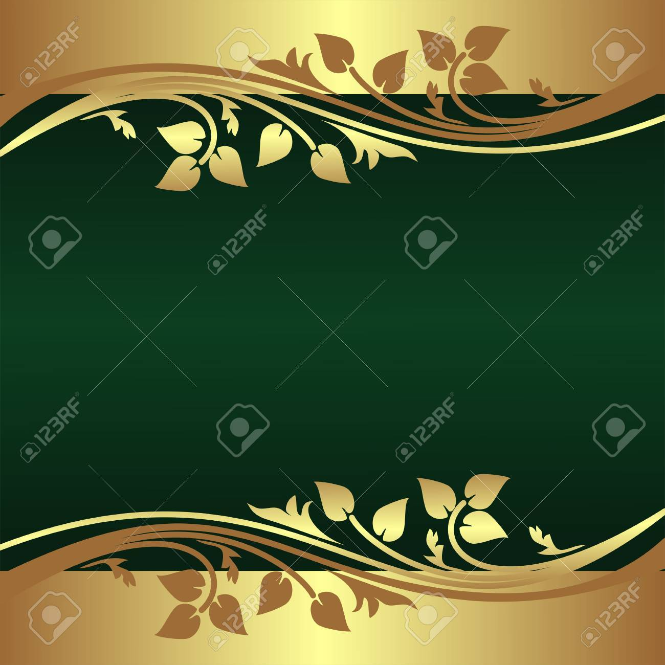 Elegant green Background decorated Border with floral elements - 25119101