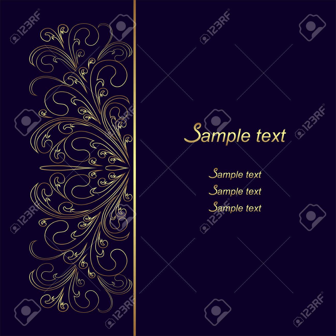 Dark blue Background with golden lacy Border - 25288541