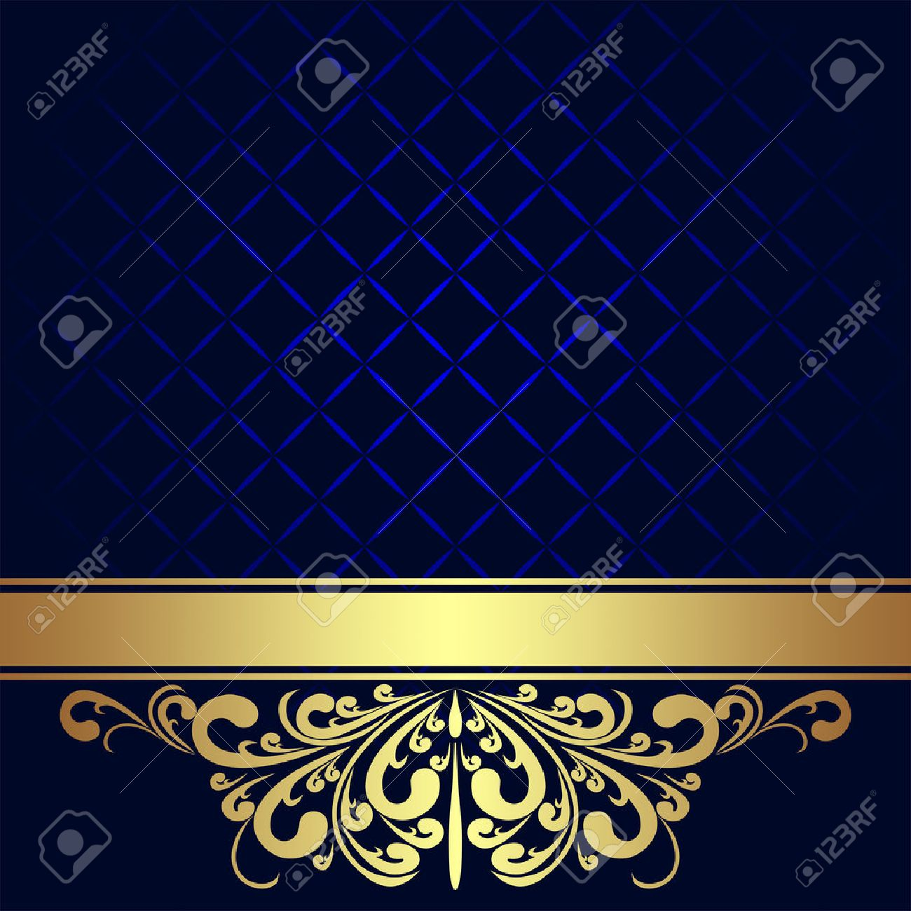 Navy blue Background decorated the golden royal Border - 25665472