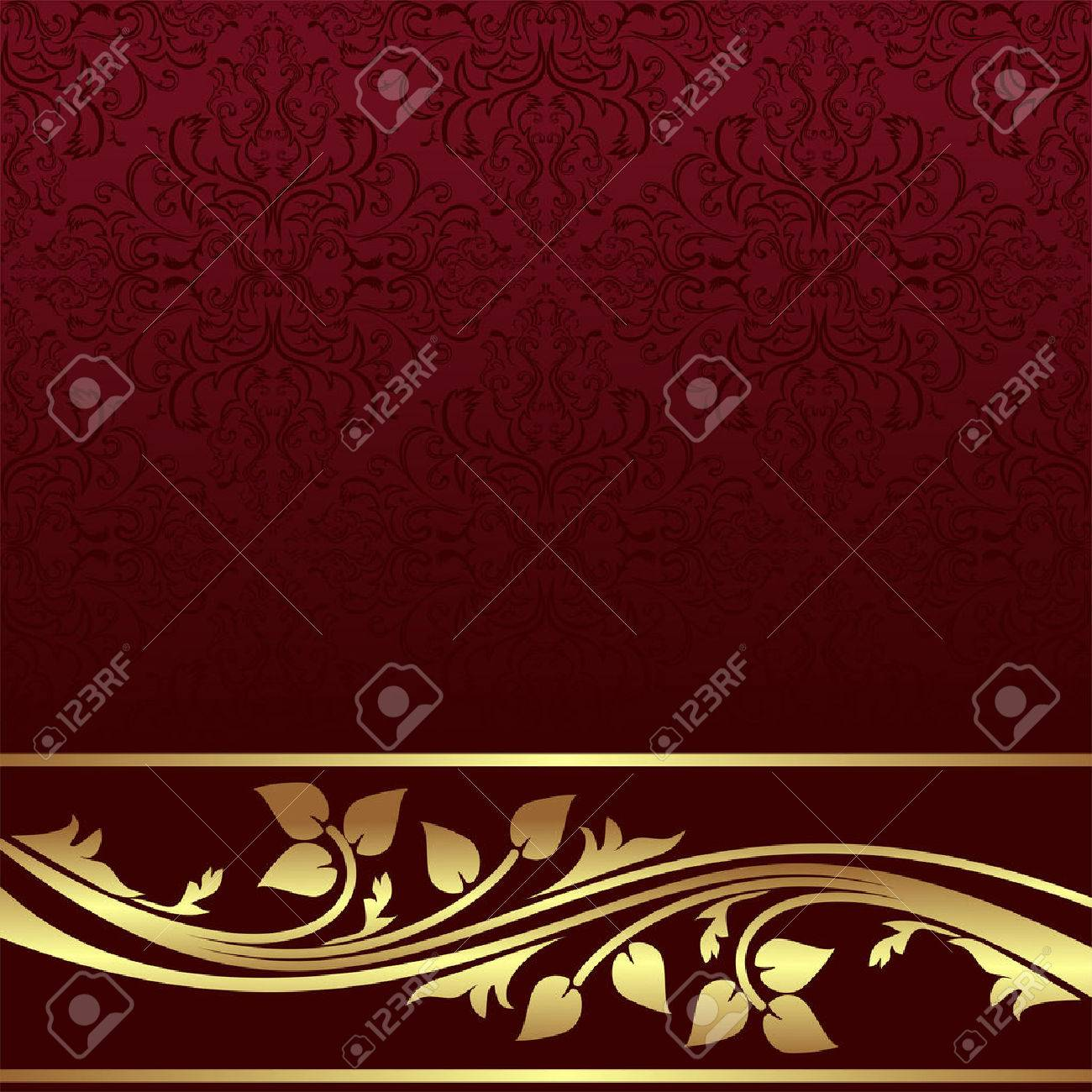 Luxury red ornamental Background with golden floral Border. - 31294349