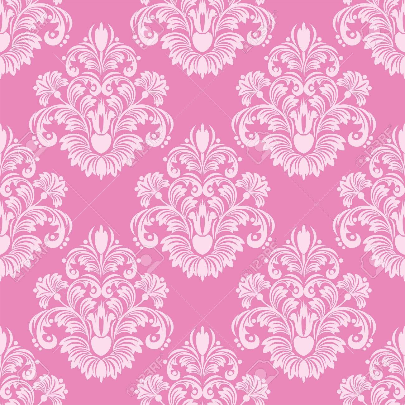 Retro Pink Seamless Damask Wallpaper Stock Vector