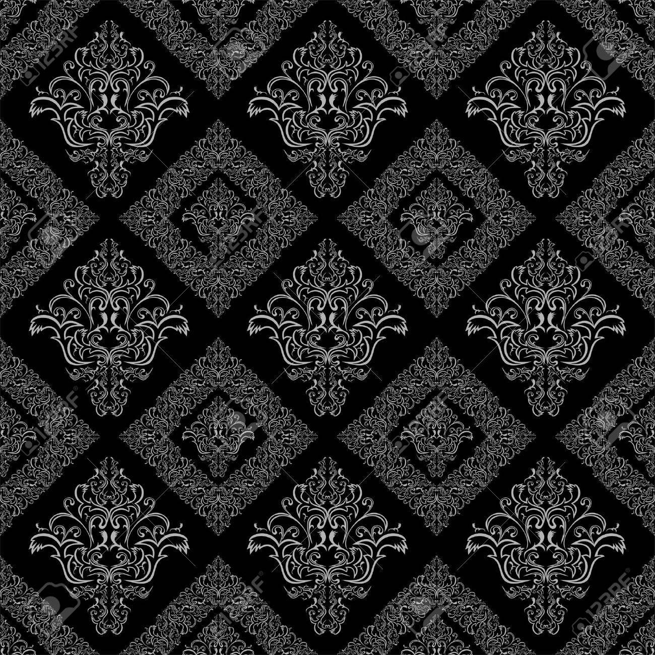 Damasse Seamless Floral De Papier Peint Geometrique Couleur Gris Et Noir