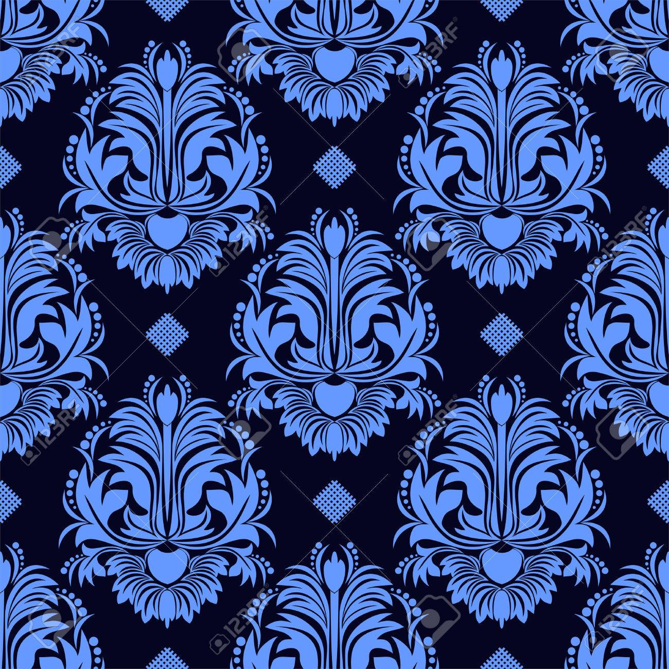 Seamless Floral Damask Wallpaper In Blue Colors Royalty Free
