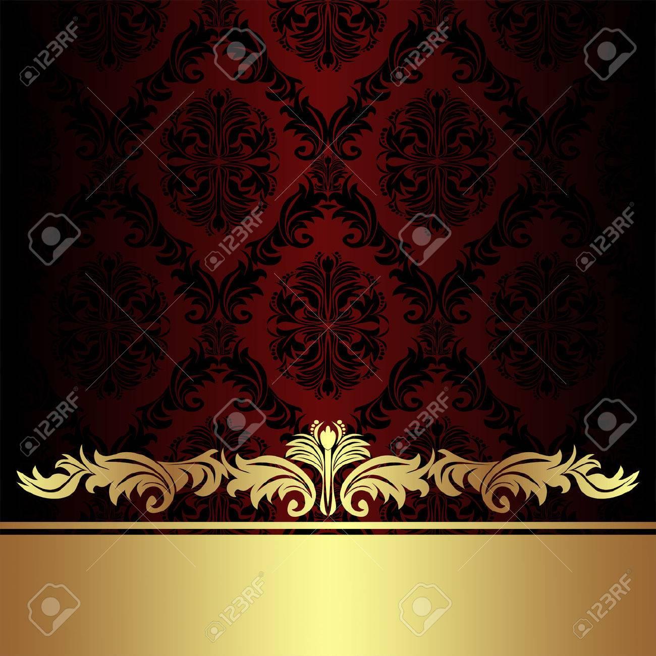 Damask red ornamental Background with golden royal Border. - 41201047