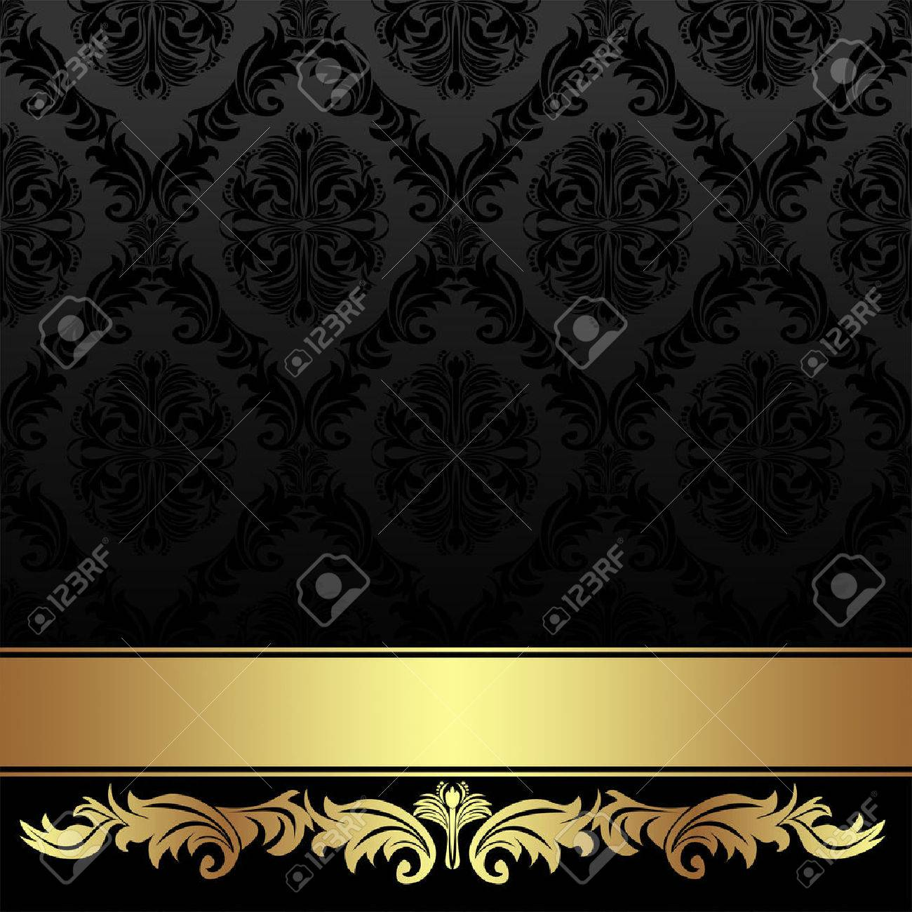 Ornate charcoal damask Background with golden Ribbon. - 41201048