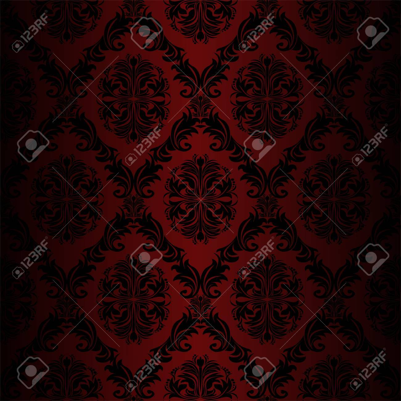 Seamless retro damask Wallpaper red colors - 41201051