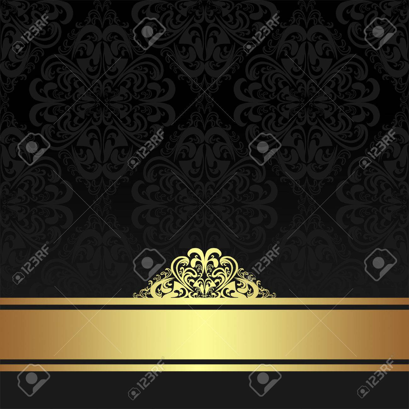 Damask black ornamental Background with golden Ribbon. - 41764002
