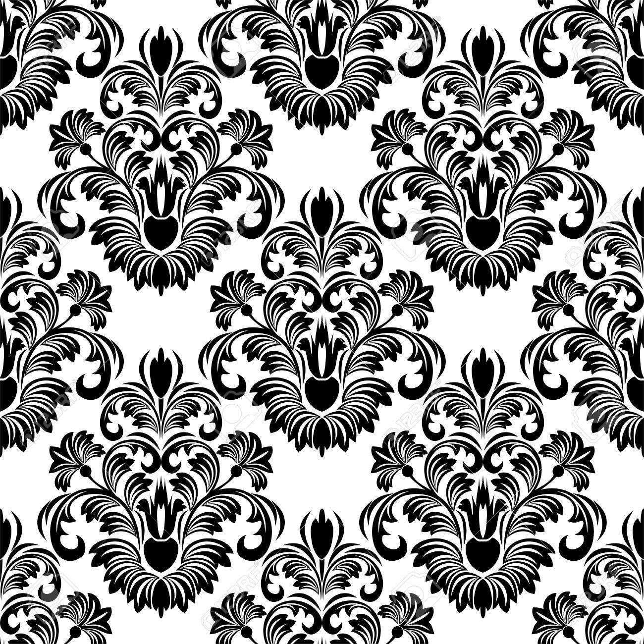 Seamless Damask Wallpaper For Design Black On White Royalty Free Cliparts Vectors And Stock Illustration Image 41296432