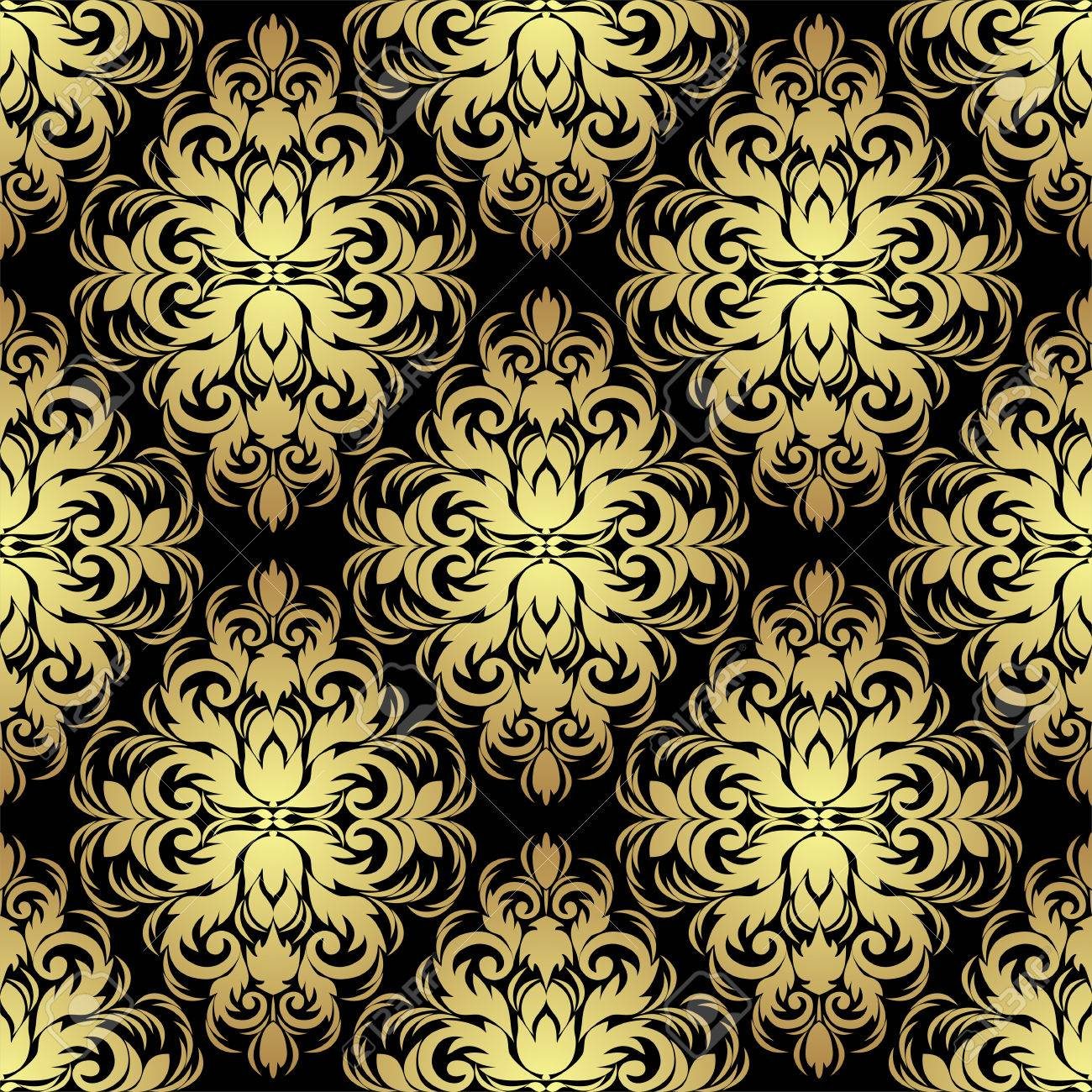 Seamless Ornate Floral Wallpaper Gold On Black Royalty Free