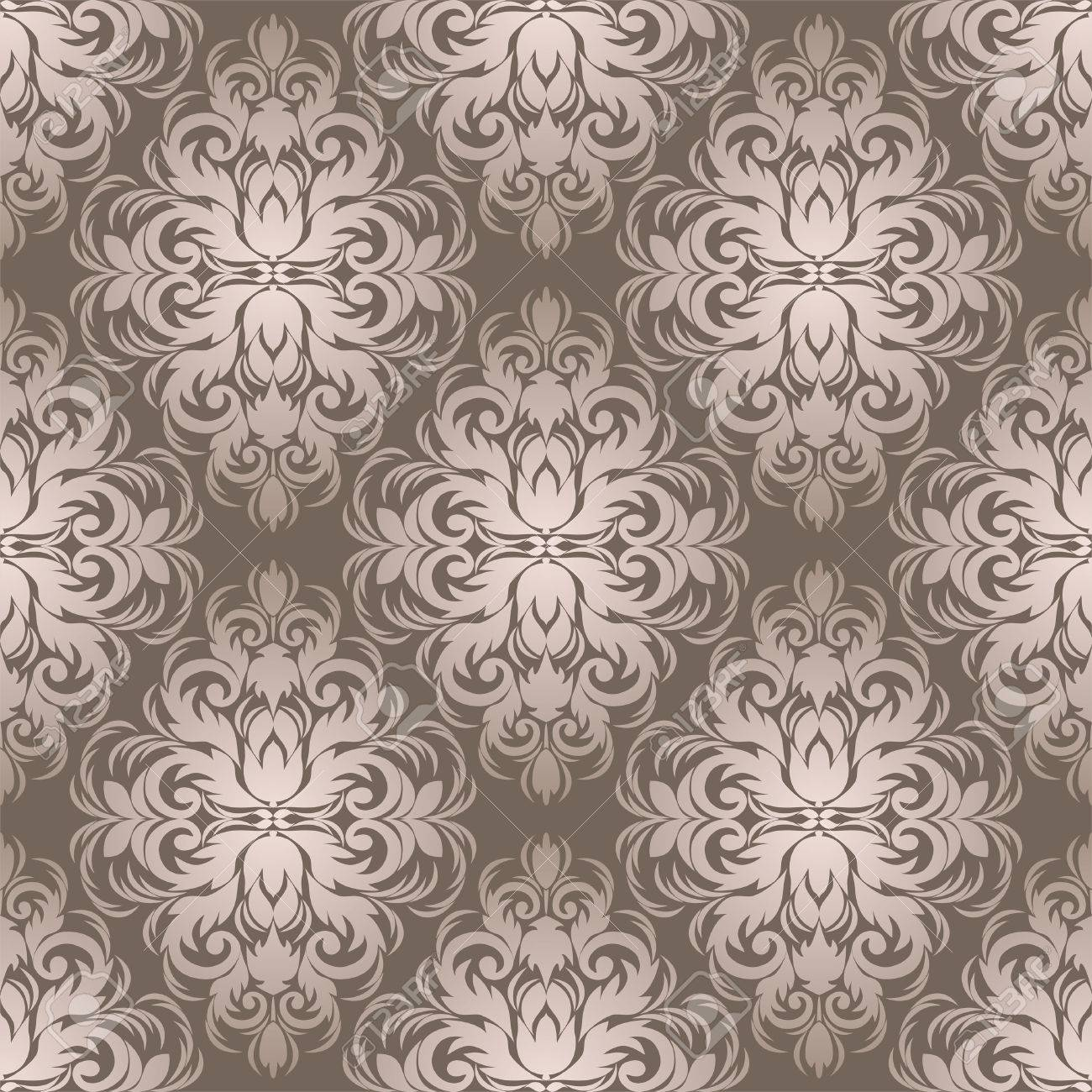 Silver Seamless Damask Wallpaper For Design Royalty Free Cliparts