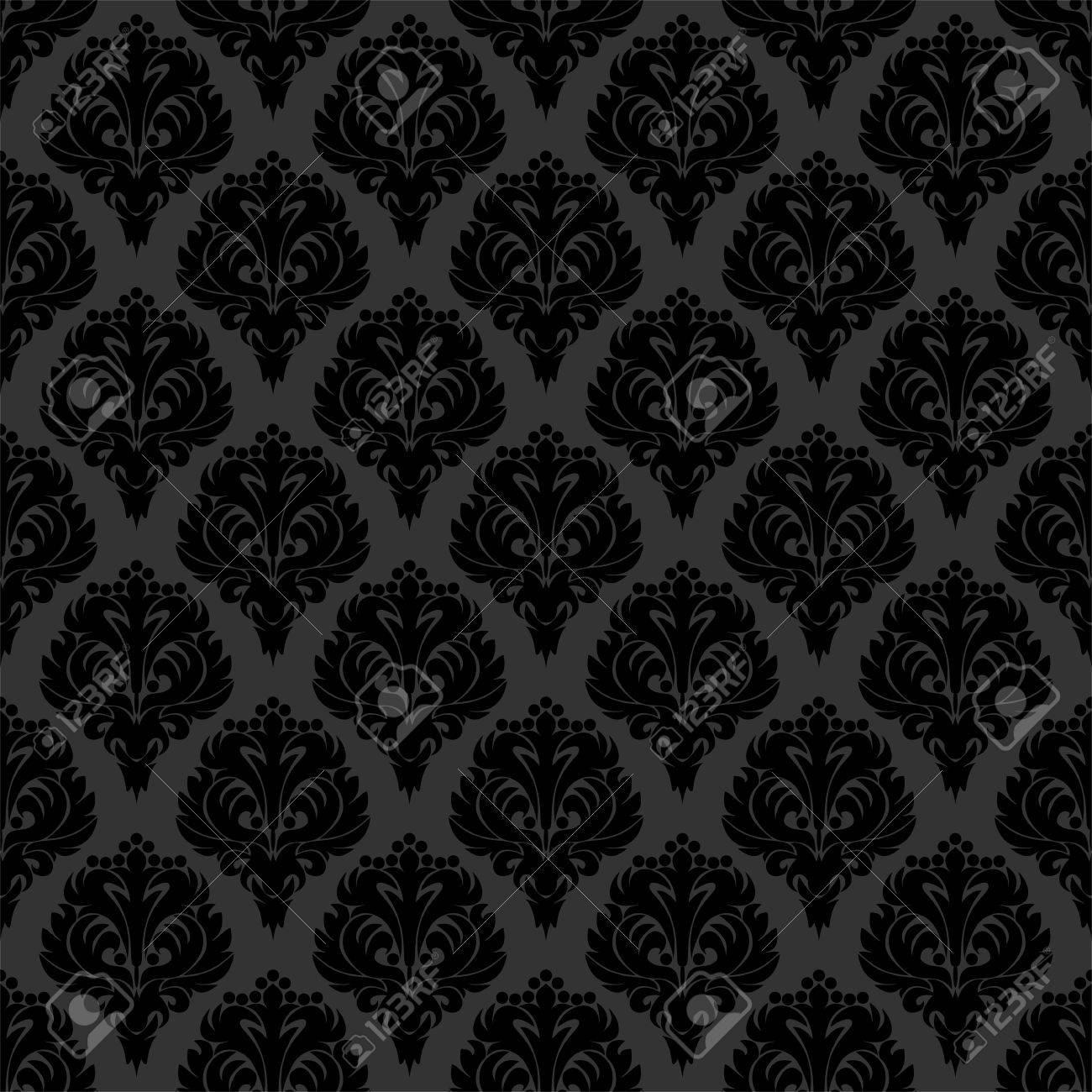 Seamless Black Damask Wallpaper