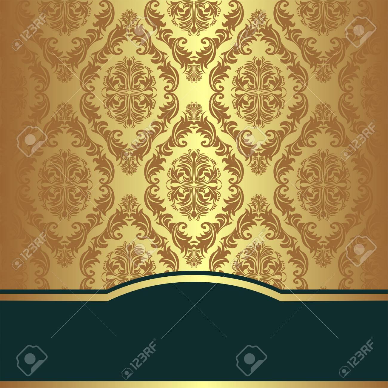 Golden damask Background with elegant Border - 97509664