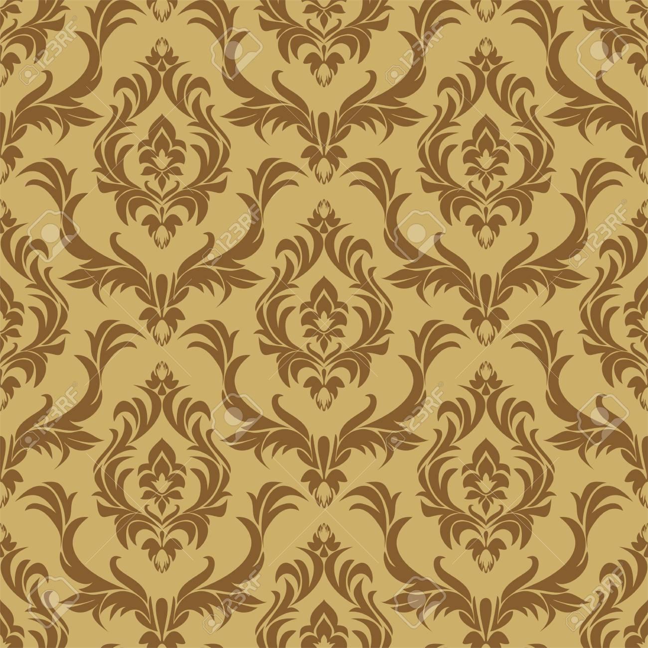 Seamless damask floral beige Wallpaper for Design. - 97509665